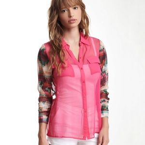 Aryn K Vibrant Silk Blouse with Contrast Sleeves